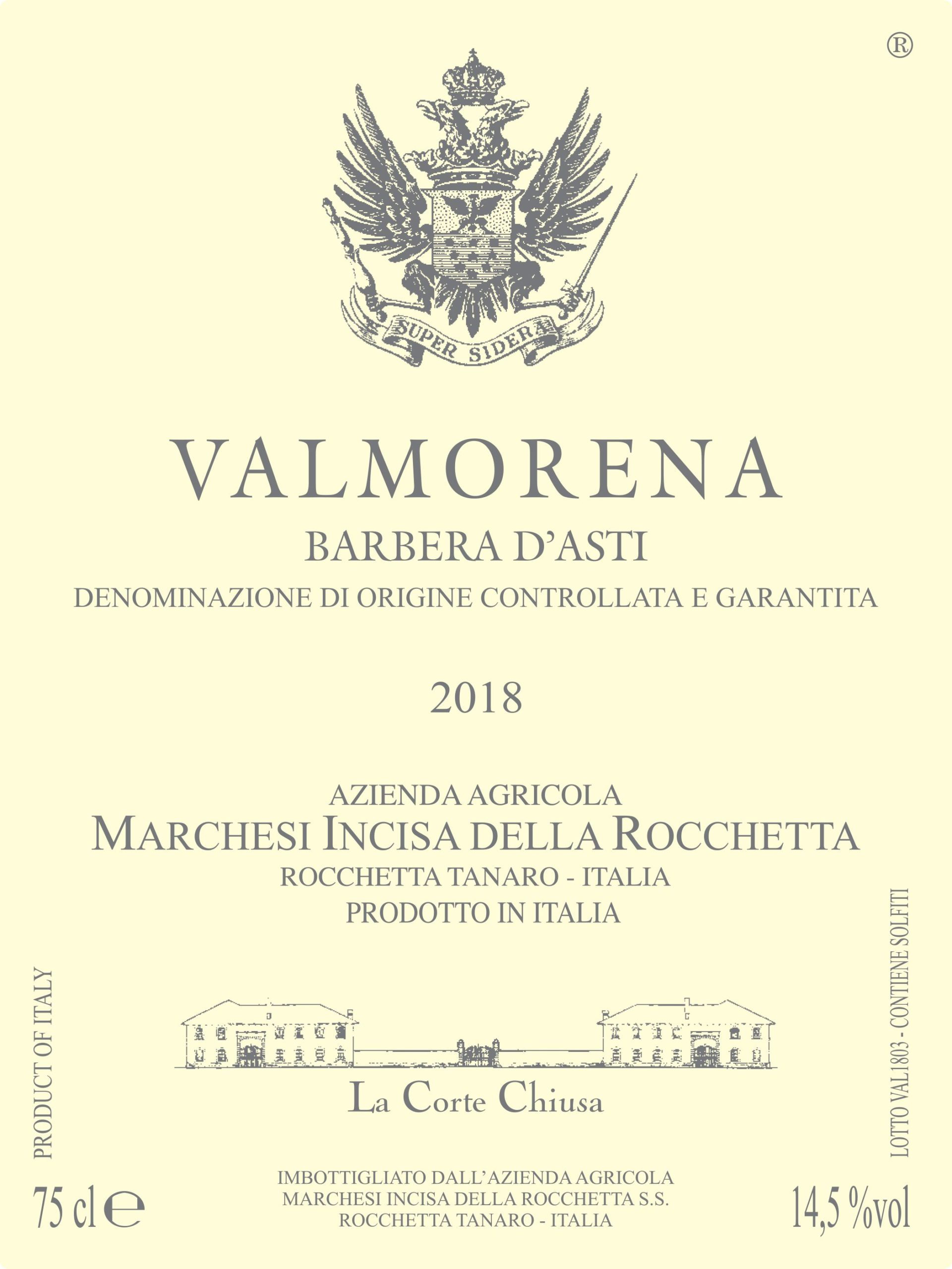 Marchesi Incisa della Rocchetta Valmorena Barbera d'Asti 2018