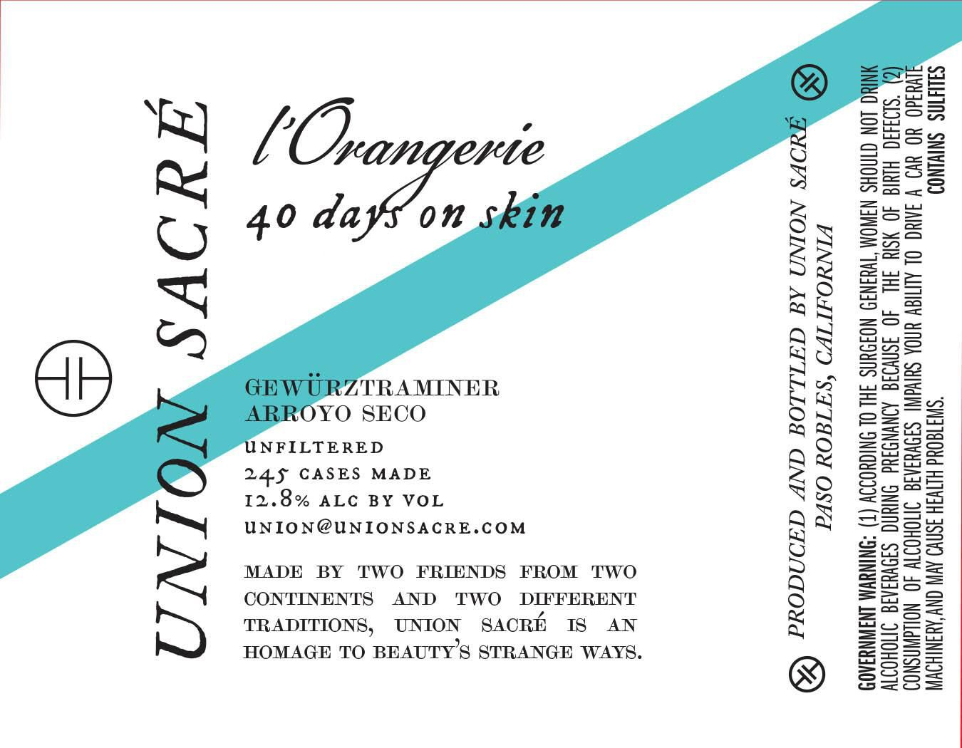 Union Sacre L'Orangerie Nuit Dry Gewurztraminer 2020