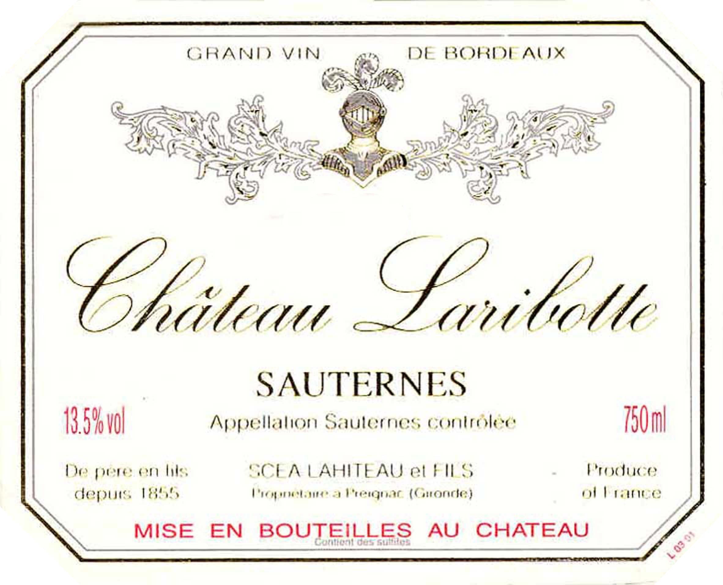 Chateau Laribotte Sauternes (375ML half-bottle) 2017